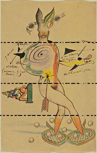Cadavre exquis visual de Man Ray, Joan Mirí, Yves Tanguy y Max Mori-se. Las líneas horizontales las hemos añadido nosotros, y vienen a repre-sentar los pliegues del papel.
